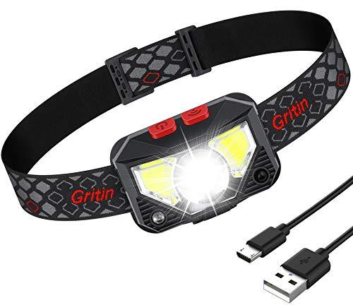 Linterna Frontal LED Recargable, Gritin Linterna...