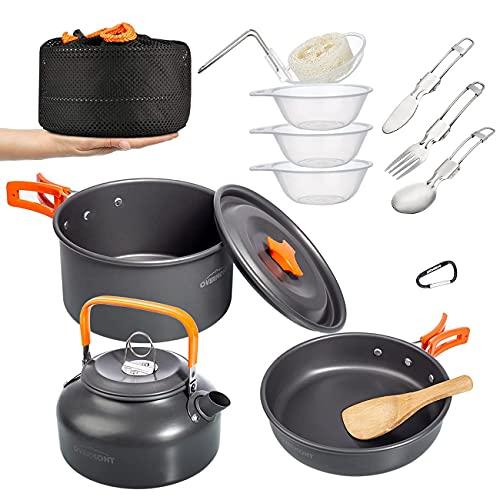OVERMONT 14Pcs Kit de Utensilios Cocina Camping...
